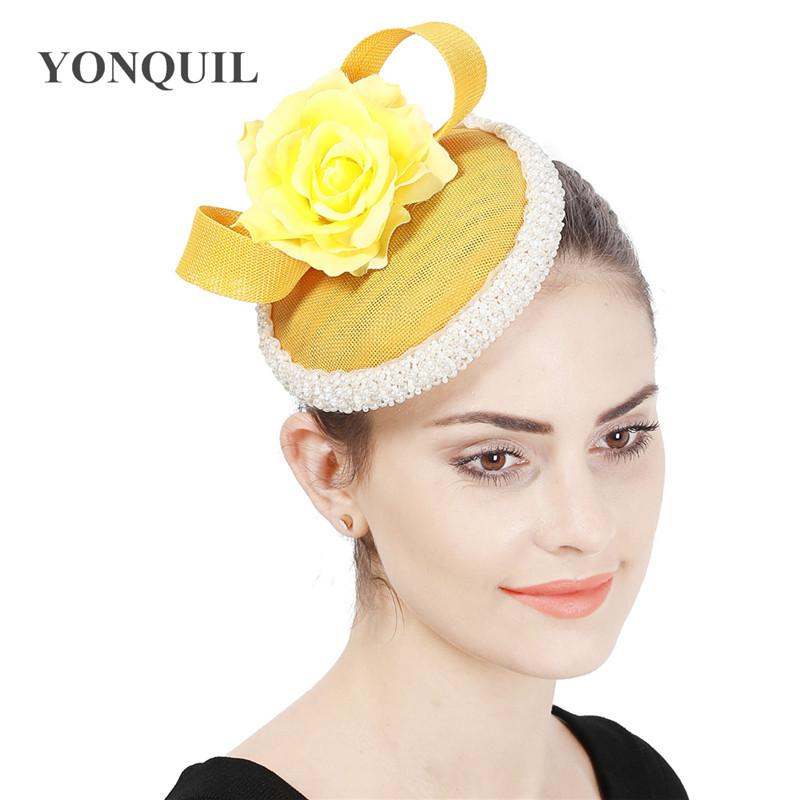 Yellow fancy fashion women fascinator hat headband bride wedding formal headpiece party hats prom derby show millinery caps