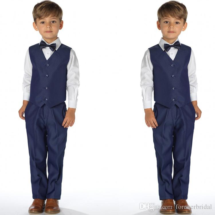 0bd1d8256eb1 Spring Boys Formal Wear For Wedding Navy Two Pieces Kids Tuxedos Fashion  Custom Made Baby Boy Clothes(Vest+Pants)
