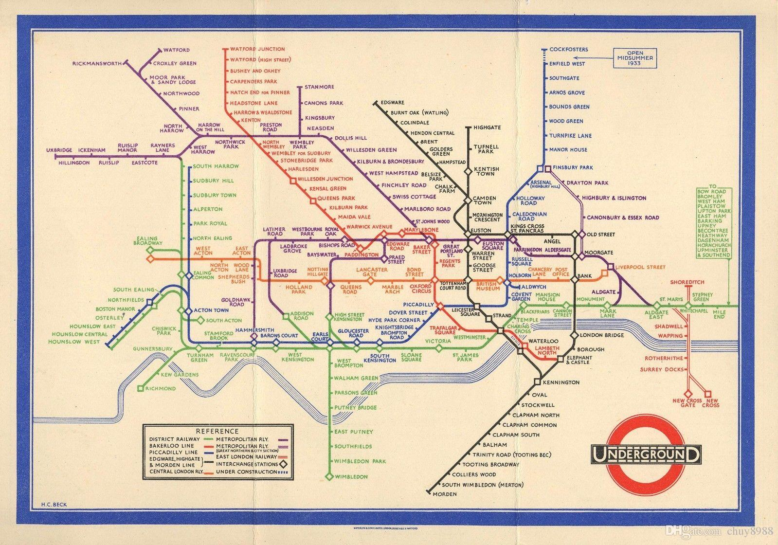 Easy London Map.2019 Retro London Underground Tube Map 1933 Art Silk Print Poster