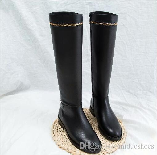 7a5baa04336 Women black zip knee boots Genuine leather Sexy low heel boots round toe  party dress shoes women size 35-40