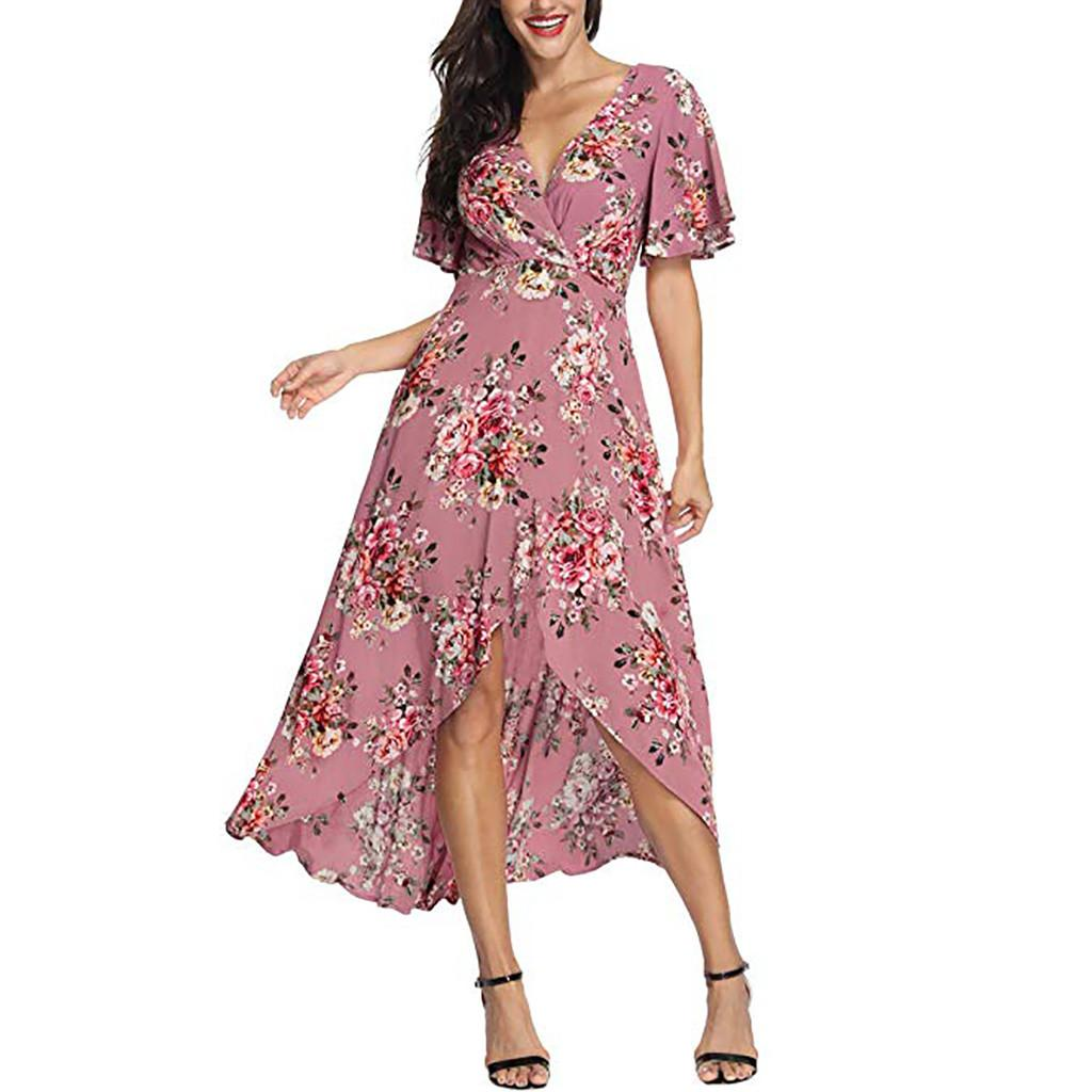 580d9084557 2019 Summer Women Floral Print Boho Dress Sexy V Neck High Split Beach Long  Dress Causal Short Sleeve Sashes Wrap Maxi Dresses 1 Dress For A Cocktail  Party ...