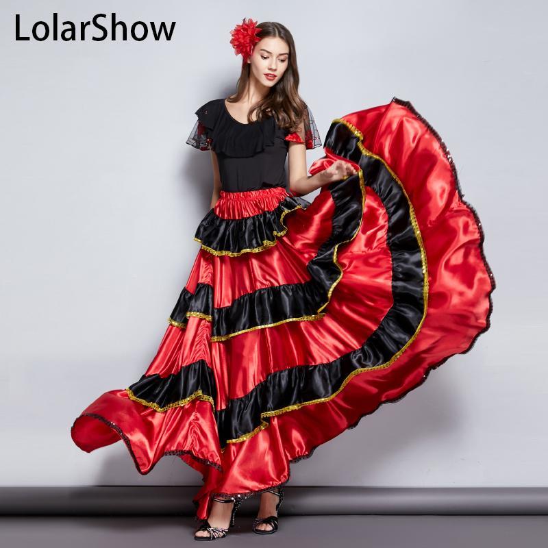 4b91fb7a1 Disfraz de baile gitano Falda larga Falda de baile flamenco Vientre para  niña