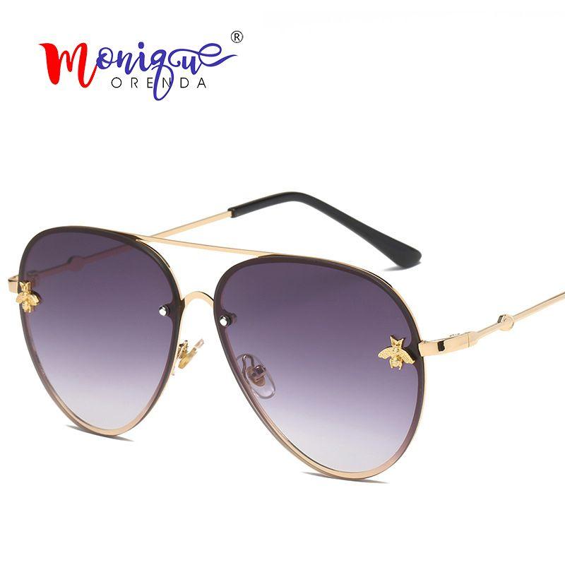 863f9c2621 Luxury Pilot Sunglasses Women Vintage Bee Rivet Metal Frame Gradient Lenses Sun  Glasses Retro Men Female Eyewear Shades UV400 Glasses Frames Glasses Online  ...