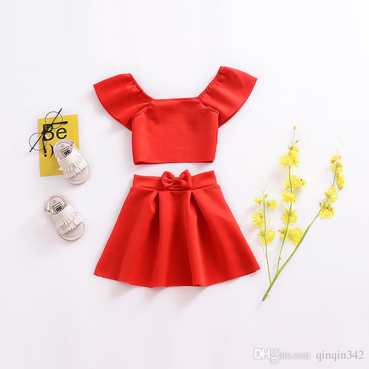 744a400ee081e Red Crop Off Shoulder Tops Bow Skirt Children Girl Clothing Summer Clothing  Outfits 2Pcs Newborn Kids Baby Girls Clothes Set