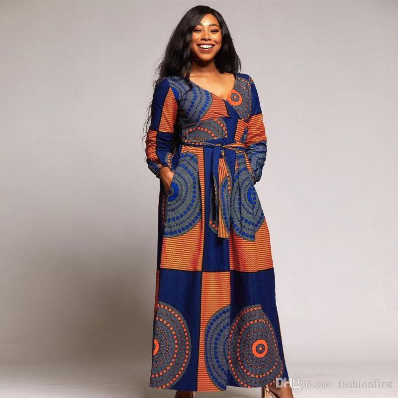 e679c9f20b1 Autumn Winter maxi dress African women s skirt Dashiki prom dress African  women print clothing sexy v neck loose dashiki dress