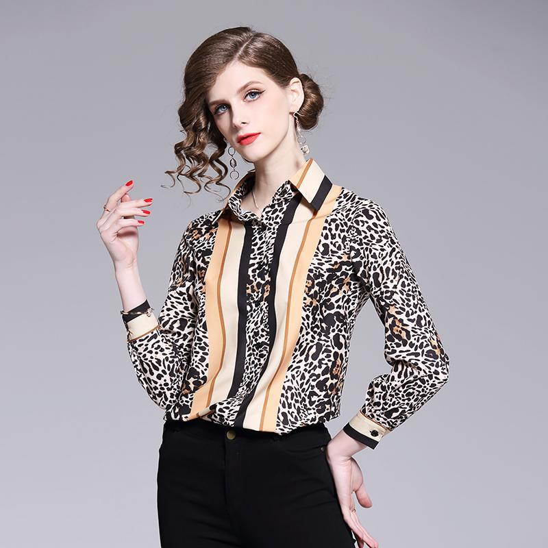 ea16685a 2019 Sexy Leopard Print Chiffon Blouse Shirt Women Long Sleeve Shirt Turn  Down Collar Lady Office Tops Fashion Casual Clothing Girl From Sebastiani,  ...