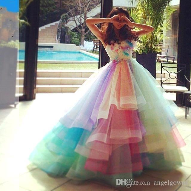 b767737a1ecdf Sweet Rainbow Colorful Prom Dresses Puffy Skit A Line New 2019 Tiers Skirt  Teen Girls Long Graguation Homecoming Dress With Hand Made Flower Dark Blue  Prom ...