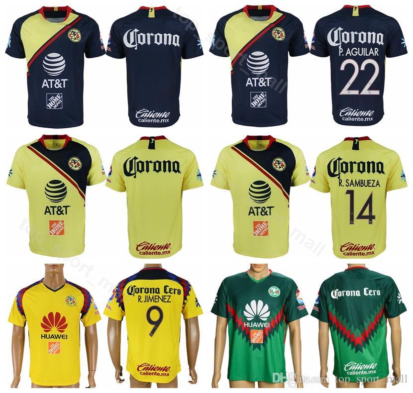 a62d64baa0f FC Liga MX México Club América Jersey 2018 2019 Fútbol 22 AGUILAR 24  PERALTA 10 DOMINGUEZ 8 URIBE 7 MENEZ Kits De Camiseta De Fútbol Por  Top_sport_mall, ...
