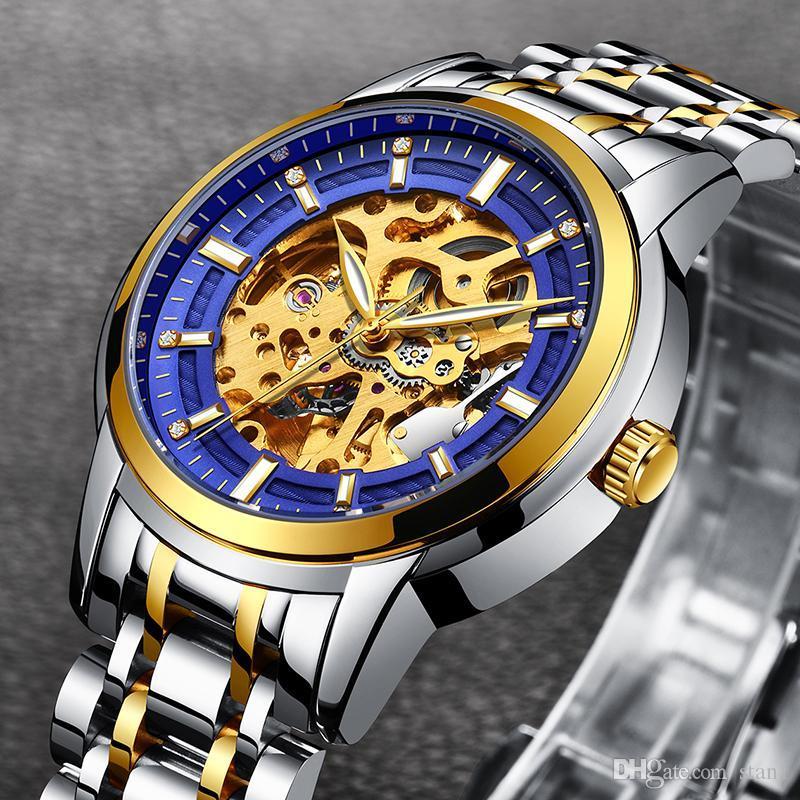 Compre LIGE Maquinaria Automática Esqueleto Relojes De Lujo Moda Negocio  Negocio Reloj De Oro Hombres Deporte Reloj Impermeable Relogios Masculinos  A ... 7e018b65feab