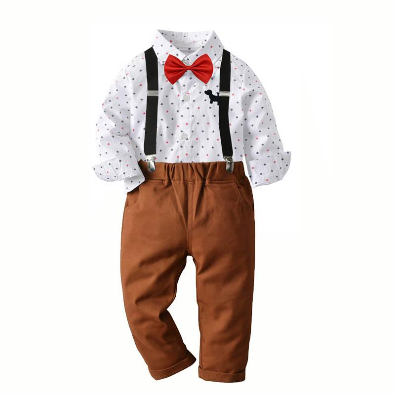 INS casual boys suits kids designer clothes boys shirt+suspender trousers 2pcs kids outfits boys designer clothes retail A7387