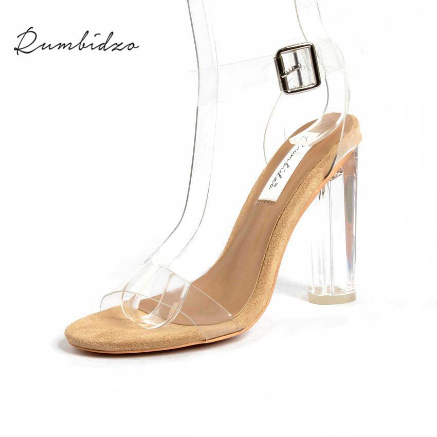 cec67078fea Dress Rumbidzo 2019 Pvc Jelly Sandals Women Pumps Open Toe High Heels Ankle  Strap Women Transparent Perspex Thick Heel Clear Sandalias Mens Casual Shoes  ...