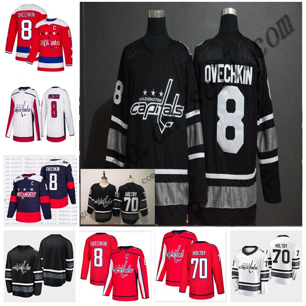 d10654550 2019 Cheap 2019 All Star Jerseys Mens 8 Alex Ovechkin 70 Braden Holtby  Washington Capitals Blues Black White Blank 2019 All Star Hockey Jersey  From Probowl, ...