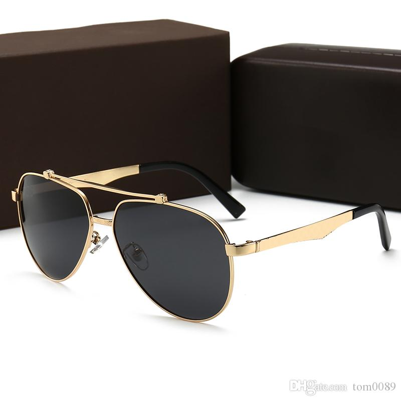 0bd0a393f424 2019Men Classic Sunglasses Gold Frame Square Metal Frame Vintage Style  Outdoor Persol Classical Model Designer Polarized Sunglasses With Box  Native ...