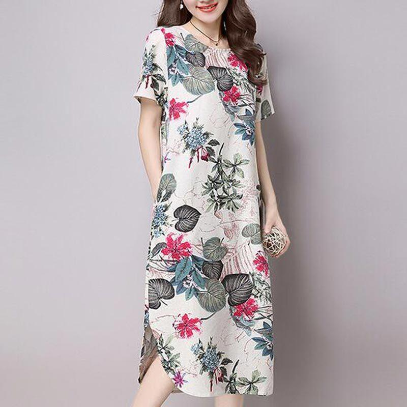 978a1d5dde33b Chinese Style Ethnic Print Women Summer Dress Plus Size Loose Casual Short  Sleeve O Neck Slim Cotton Linen Dress Female Xt0063 White Dresses For  Cocktail ...