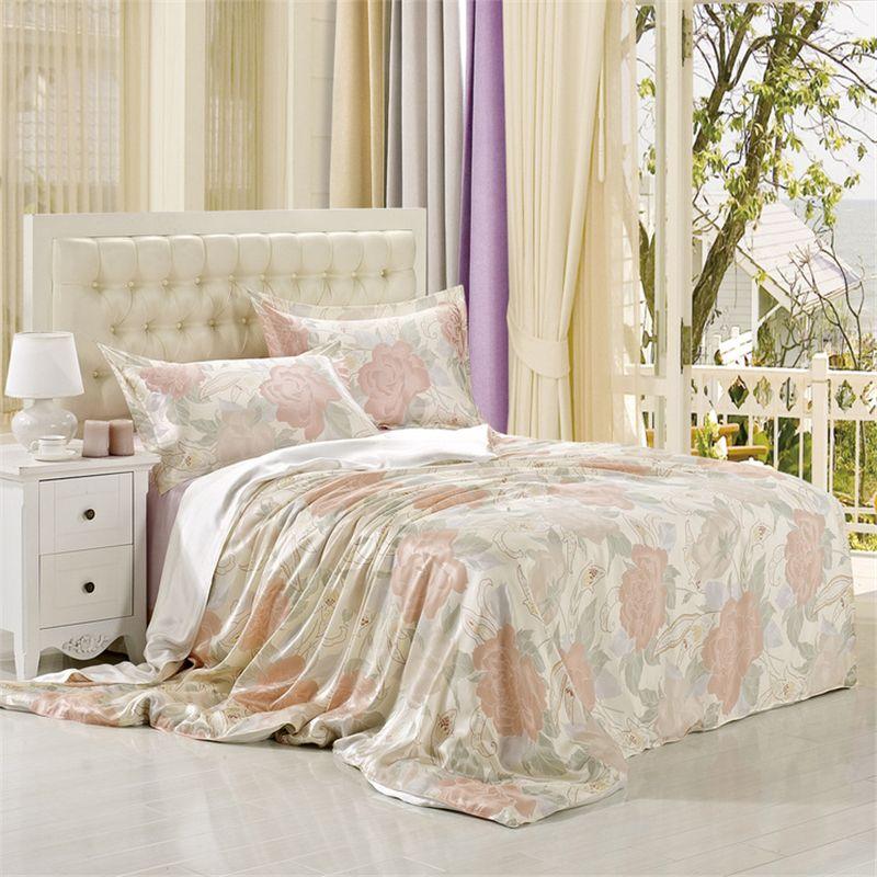 Luxury Bedding Set 100% Pure Mulberry Silk Wedding Gift Home Decor Duvet  Cover Flat Sheet Pillowcase King Size Bedding Sets