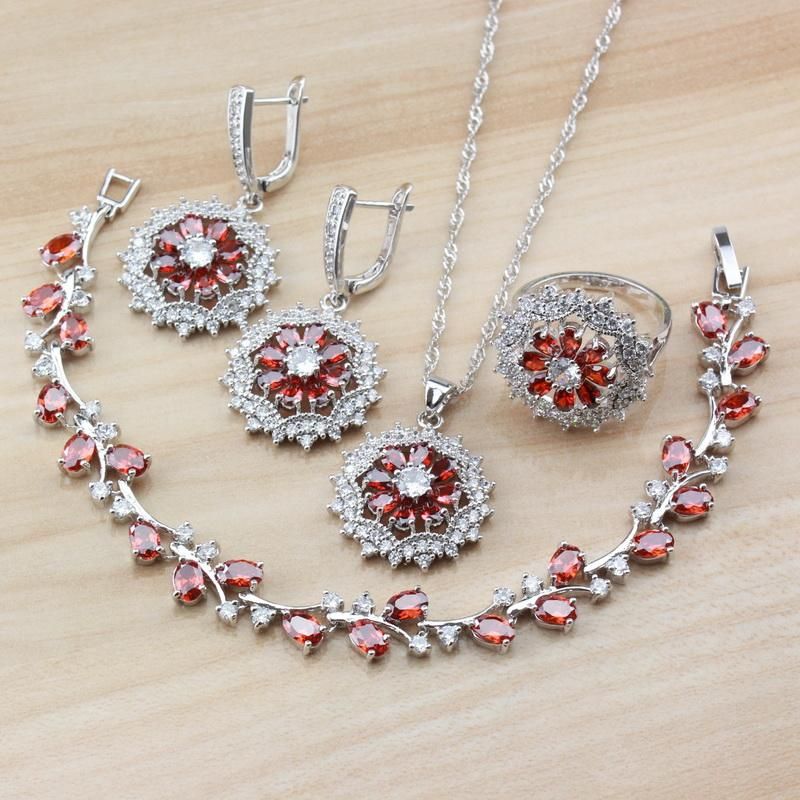 Bridal Wedding Trinket 925 Sterling Silver With Natural Red Garnet CZ Women Jewelry Sets Earrings/Necklace/Bracelet/Ring A29