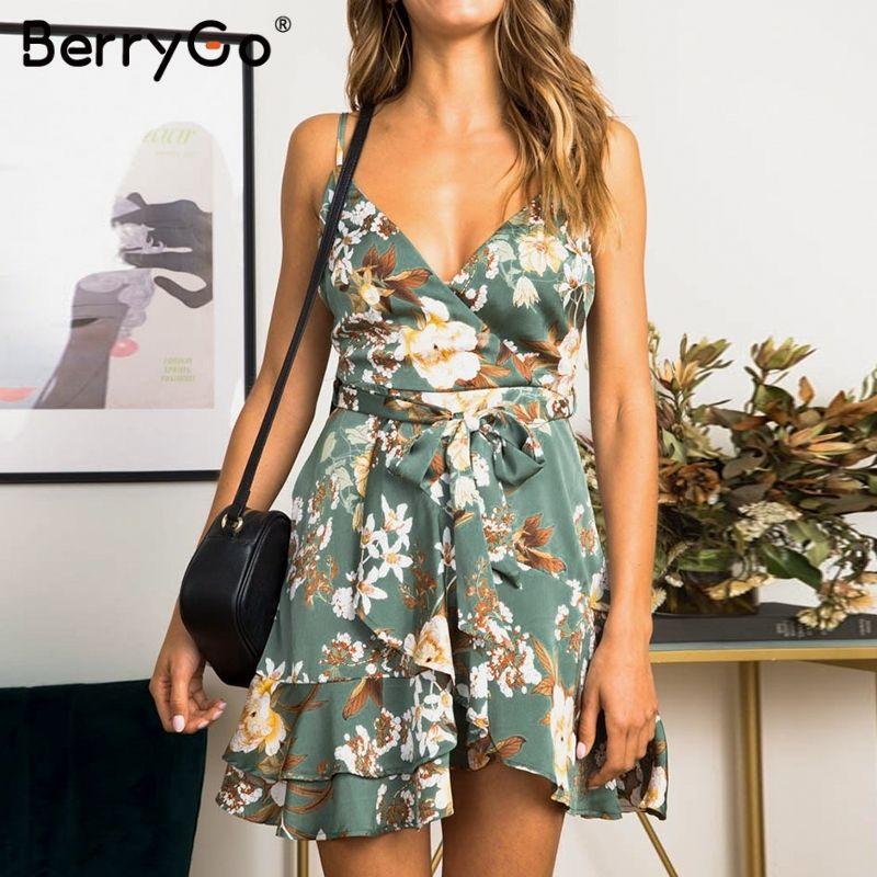 88be3f08f3b7 BerryGo, vestido de verano, vestidos para mujer, correa de espagueti,  vestido con estampado floral, fajas de playa, vestidos de playa, elegantes  ...