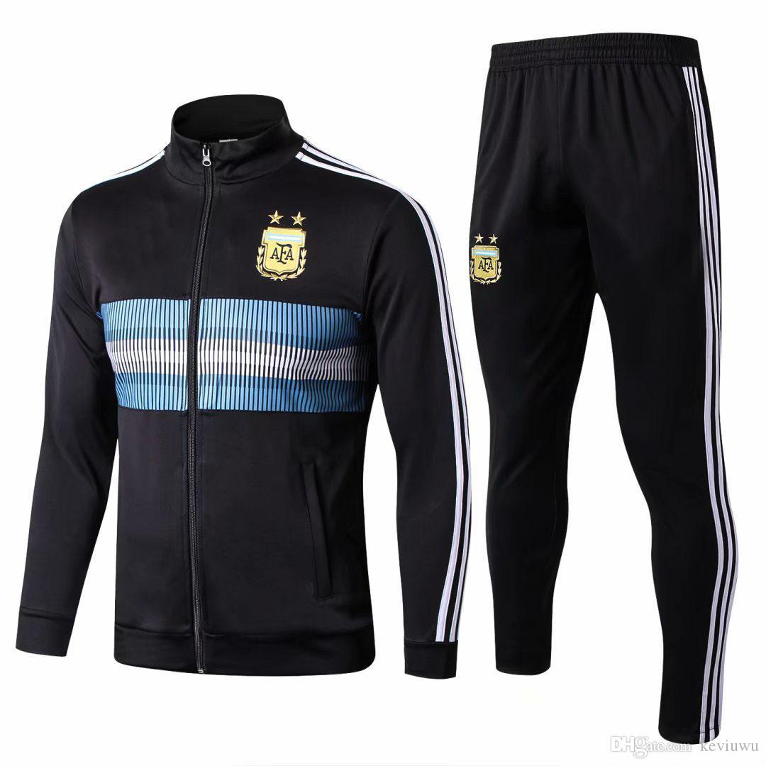 40f6f51cf Compre Novo 2018 2019 Argentina Treino Jaqueta De Treino Dos Homens 18 19  Argentina Jaqueta De Futebol Terno Conjunto De Treino De Futebol Calças  Pretas ...