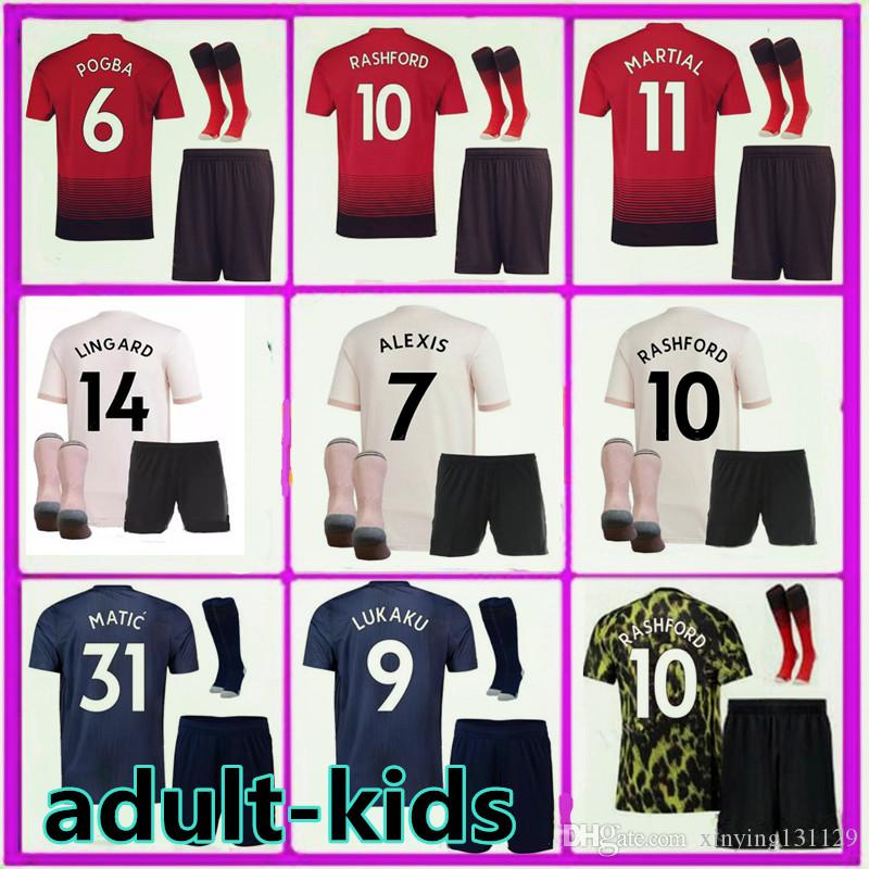 pretty nice 77c89 b5e3d 2018 2019 kids Man men United soccer jersey utd kits 18 19 MARTIAL LINGARD  MATA RASHFORD LUKAKU ALEXIS POGBA football jerseys shirt boys