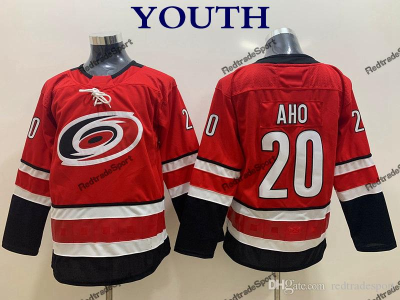 75d6e7097b3 2019 2018 Youth Sebastian Aho Carolina Hurricanes Hockey Jersey Kids New  Boys Home Red  20 Sebastian Aho Stitched Hockey Shirts From Redtradesport