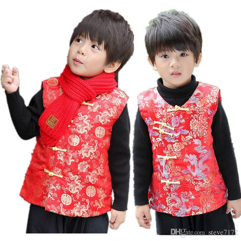 72476610b Red Celebration Children Vest Coat Chinese New Year Baby Boy Clothes Winter  Thick Kids Vest Outfits Outwear Kid Waistcoat Dragon Canada 2019 From  Steve7172, ...