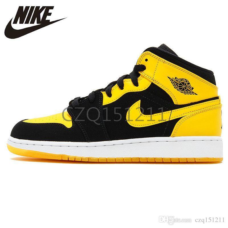 detailed look ffecc 13d00 2019 Air Jordan 1 Mid AJ1 Black Yellow Joe Men Women I Jordans 1s Retro  Basketball Sneakers Black Yellow Original Outdoor Non-slip Shoes 554724 035  ...