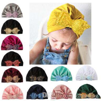 3344c5fe3 Hot sell bow sequin knitted hat baby fashion winter warm crimping newborn  caps wool hats shooting props