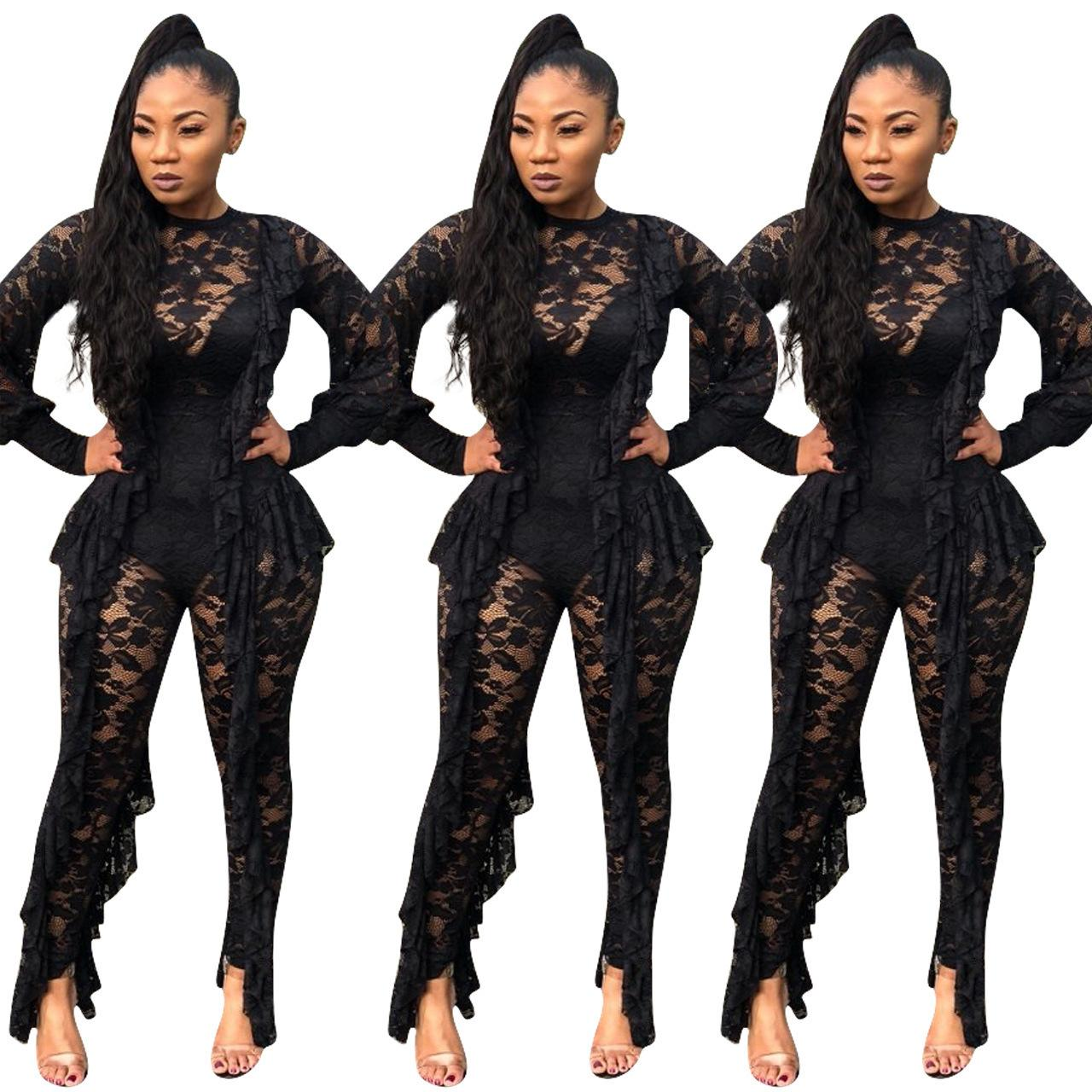 bee3aba52 Y8042 Europe and America nightclub women s 2019 fashion explosion models  lace sexy perspective tassel jumpsuit