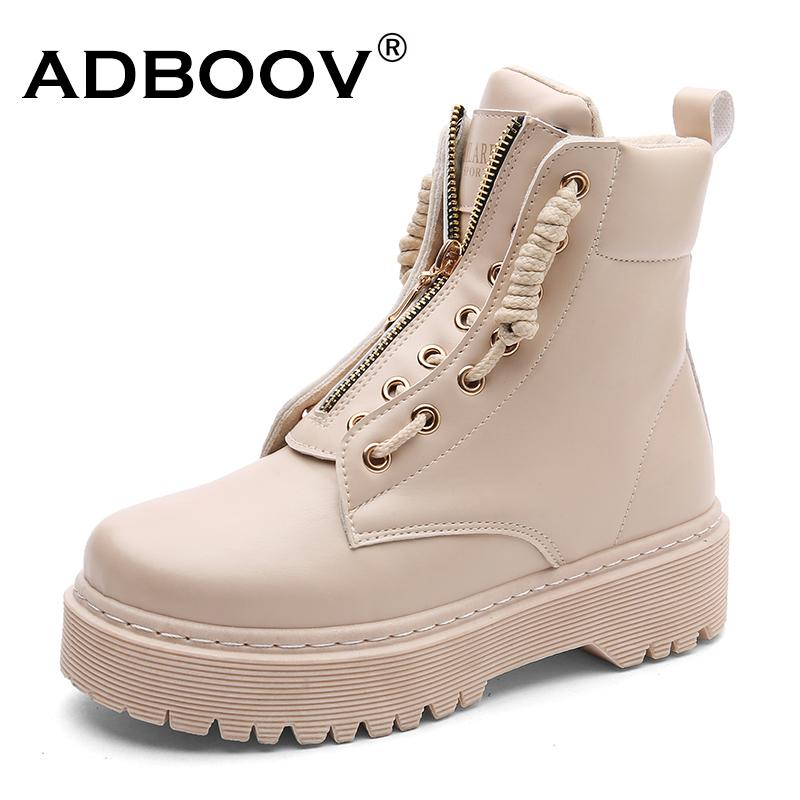 10666555a7f 2019 ADBOOV Zip Flat Ankle Boots Women PU Leather Motorcycle Boots Platform  Martens Boots Fall Winter Shoes Woman Booties From Gossipgirl888, ...
