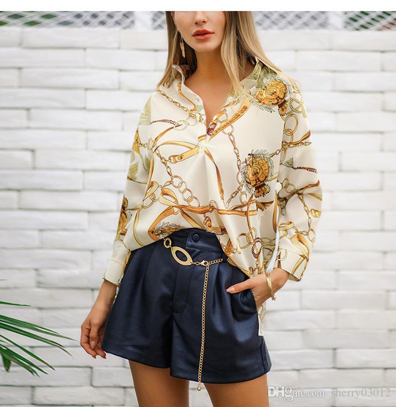 6e38e4863f49 Compre Moda Para Mujer Tops Mujer 2019 Primavera Chiffon Patchwork Tops  Blusa Femme V Calidad Del Cuello Elegante Tira De Cadena De Impresión  Oficina Ropa ...