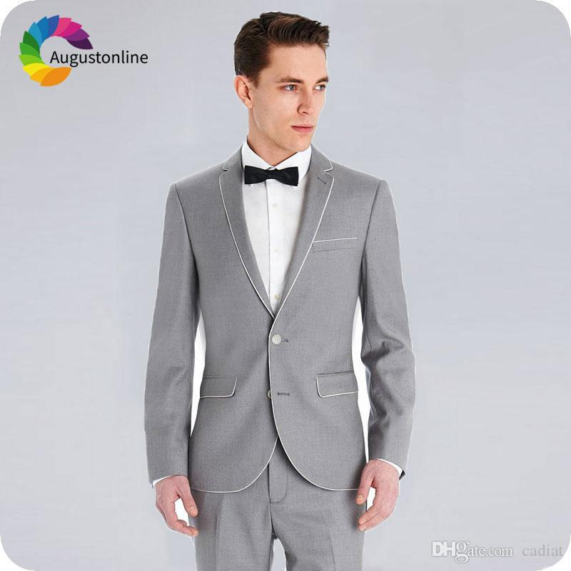 ea125e7fb New Fashion 2019 Grey Men Suits for Wedding High Quality Man Casual ...