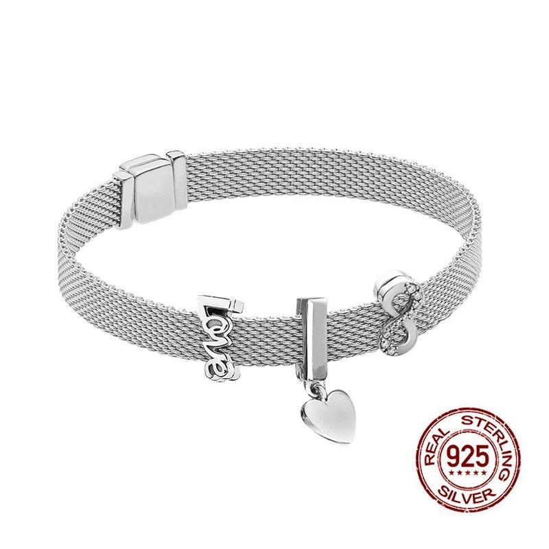 Mesh Charm Bangle 925 Sterling Silver Women Bracelets for Women Valentines Birthday Xmas New Year Jewelry Gifts