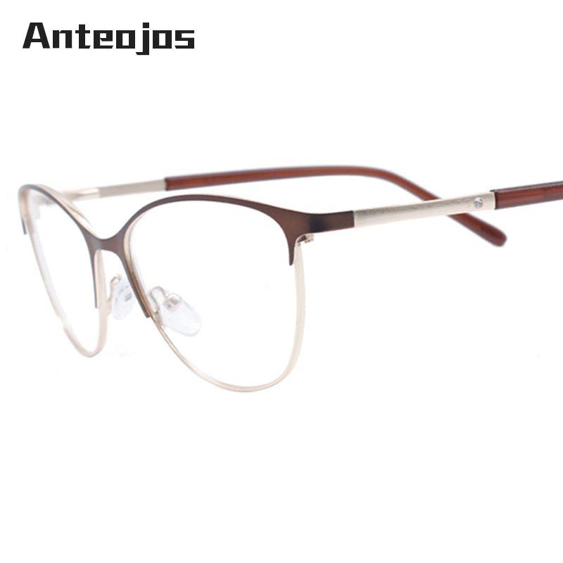 ba1d21ae91f 2019 ANTEOJOS Female Eyeglass Frames High End Rhinestones Insert Brown  Metal Women Glasses Frame For Myopia Oculos De Grau Feminino From  Vintage66