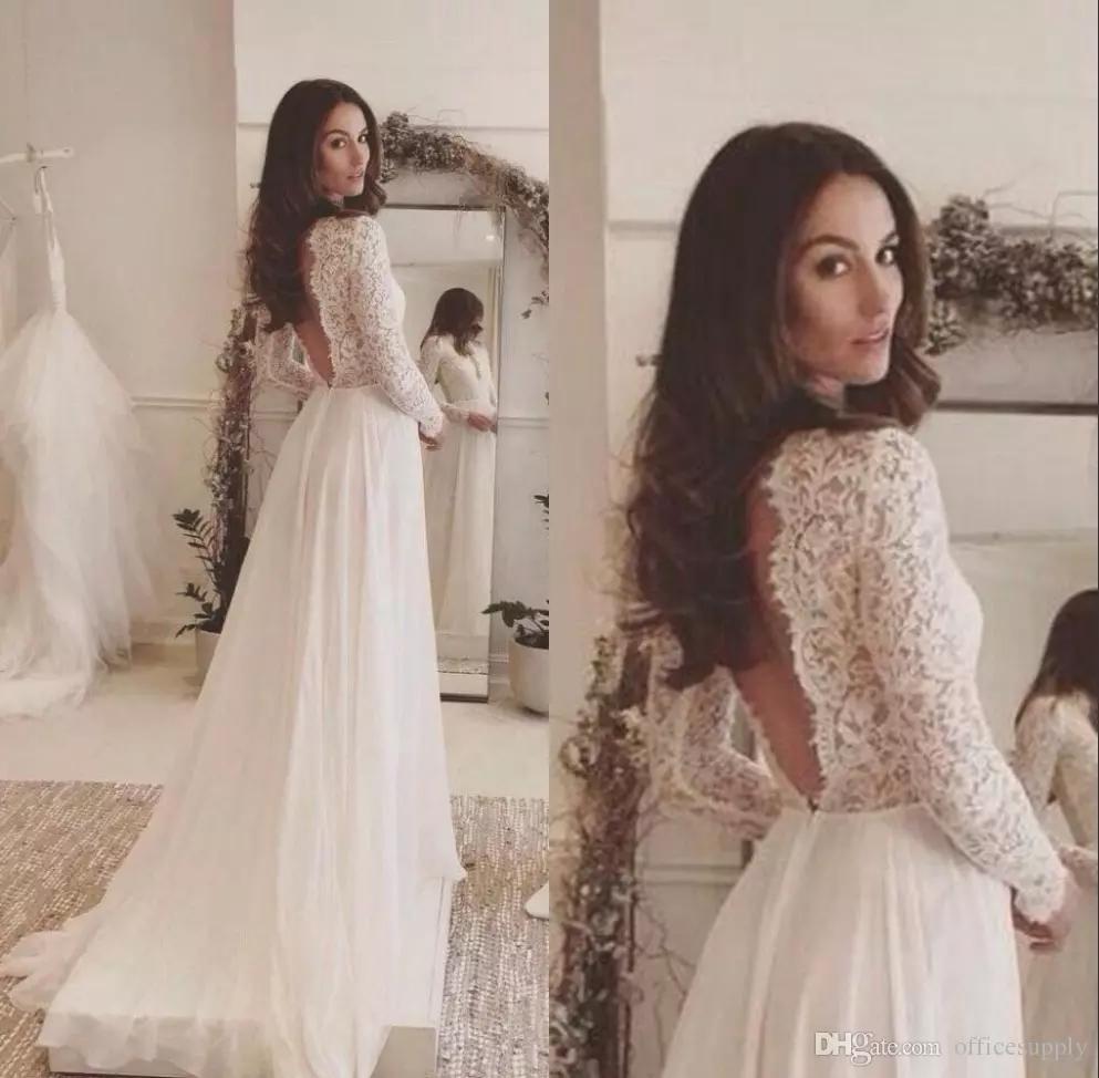 Simple Sexy Beach Backless Wedding Dresses Long Sleeve Lace Chiffon Rustic Wedding Dress Vestidos De Noivas Para Casamento