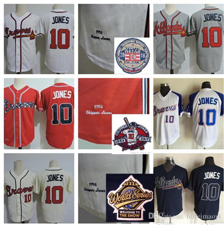 buy popular 459d7 5a34b Men Stitched Jerseys Chipper Jones 2018 HOF patch Jerseys White Red Cream  Gray 10 Chipper Jones 1995 WS Retirement patch Baseball Jersey