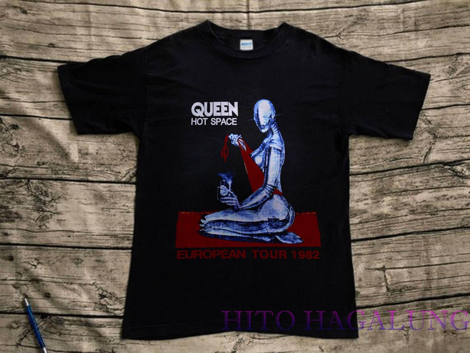 Vintage 1982 Queen Hot Space Euro Tour T Shirt Reprint Size S , 3XL