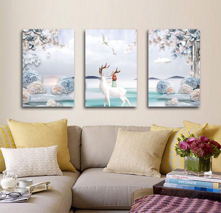 Acquista soggiorno decorazione divano sfondo muro dipinto for Pittura soggiorno moderno