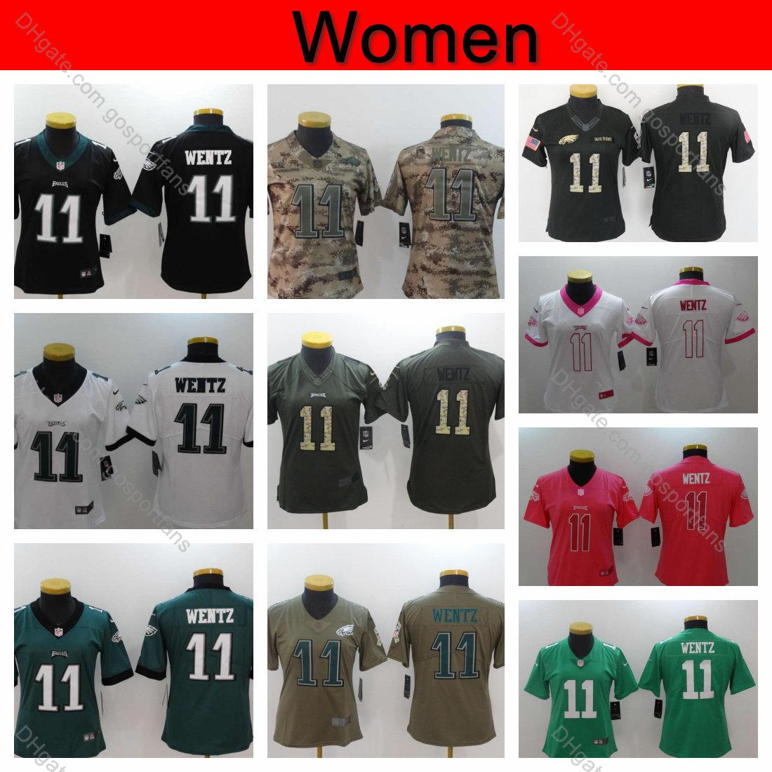free shipping 291d3 d3aca Womens Carson Wentz Jersey 2019 Camo Salute to Service Philadelphia Ladies  Eagles 11 Carson Wentz Jersey Girls Football Jerseys Stitched