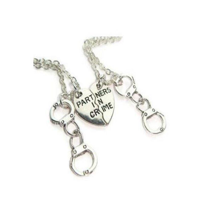 924df45dd Wholesale Partner In Crime Best Friends Half Heart Handcuff Necklaces  Pendant Vintage Silver Choker Necklace Women Jewelry BFF Friendship  Accessories Flower ...