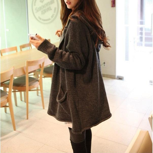 117aee8f20 2019 Spring Autumn Long Sweater Women Korean Jumper Loose Big Yards Leisure  Hooded Cardigan Sweaters Coat Clothing Vestidos LXJ341 From Kaway