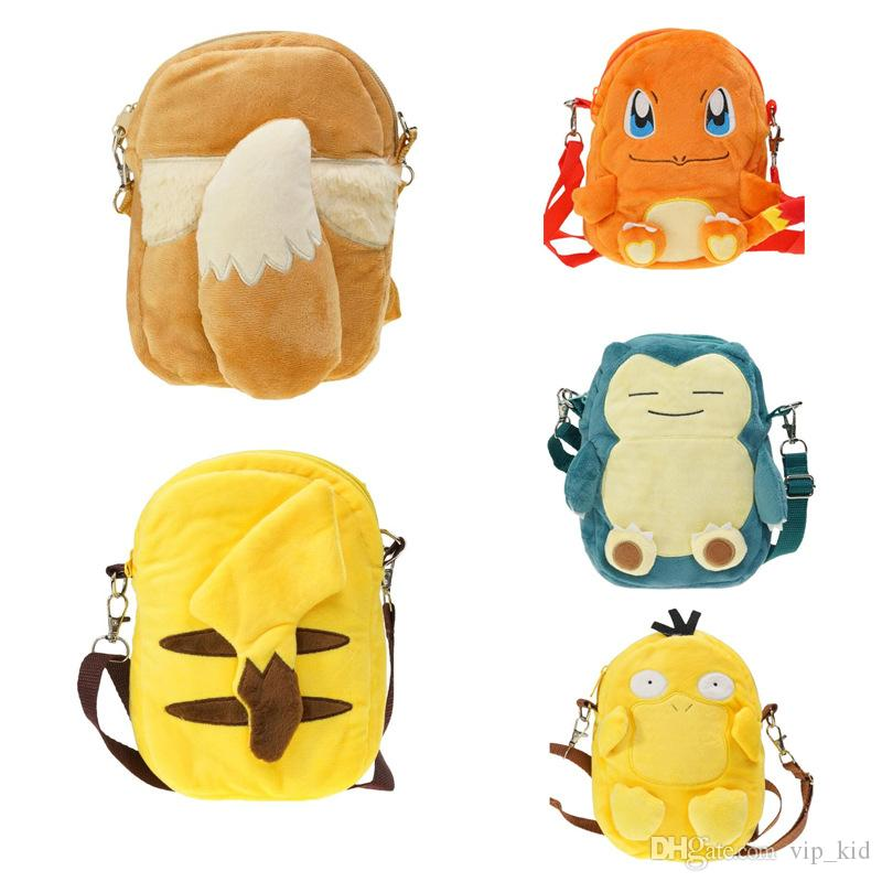 New 20 cm Charmander Psyduck Pikachu Eevee Snorlax Plush Backpack Zipper Single Layer Soft School Bag Doll Stuffed Animal Toys 8 Inch D
