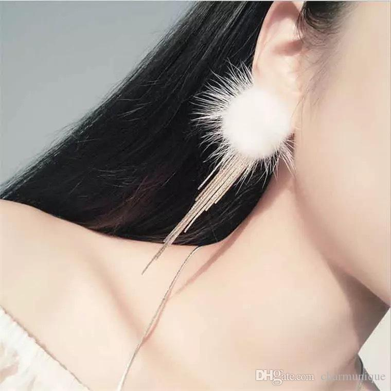Flocked Cloth Fur Tassel Chain Earrings Long Rabbit Hair Feather Crystal Rhinestones Drop Fashion Elegant Gift For Women Jewelry
