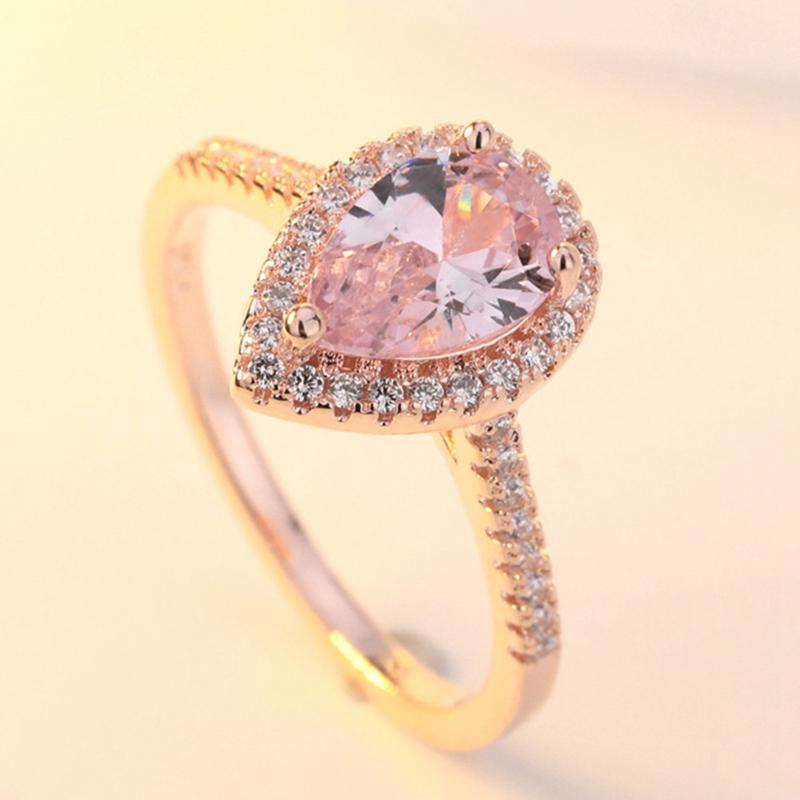 925 sterling silver Luxury Crystals Rose Gold Color Ring Pink Zircon Drop Shaped Women Delicated Wedding Engagement Ring Jewelry