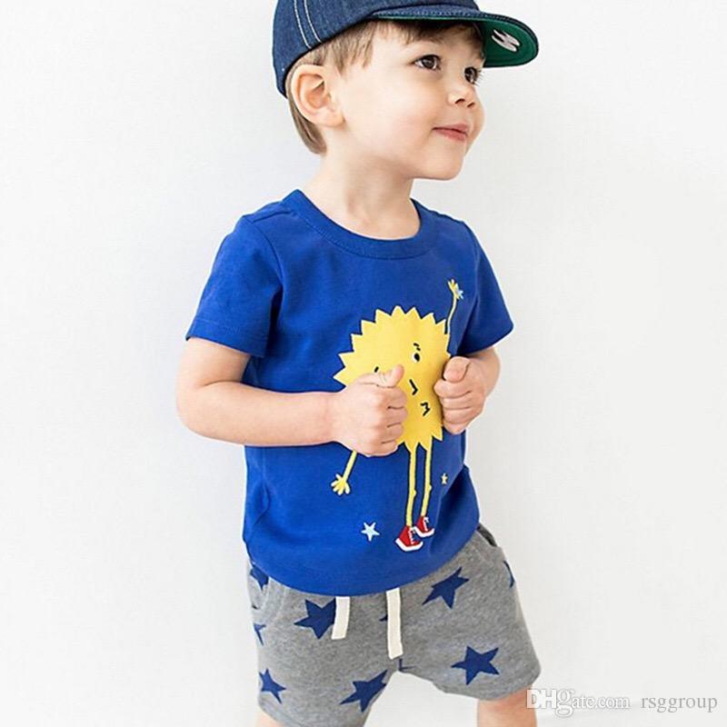 52038e669 Compre 2019 Más Nuevo INS Ropa Para Bebés Niños Dibujos Animados Sol Flor  Cuervo Rayas Trajes Casuales Conjuntos De Velero T Shirt + Pants Traje Ropa  De ...