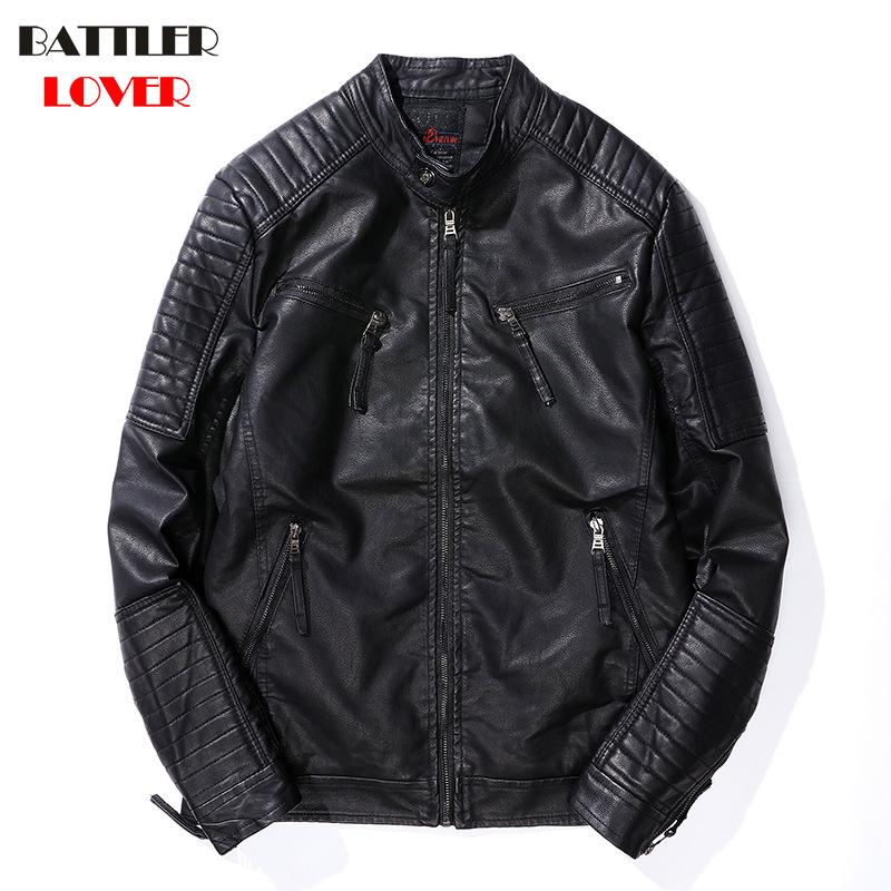 Mens Leather Coat Winter Faux Leather Warm Outwear Coats Men Punk Fleece Parka Jackets Hombre Thick PU Overcoats Brand Clothing