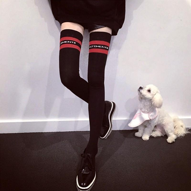 f48e7266920 2019 Fashion Hip Hop Limit Catwalk Models Style Red Stripes Letters  Knitting Thigh High Socks Harakuju Black Knee High Socks From Pakis