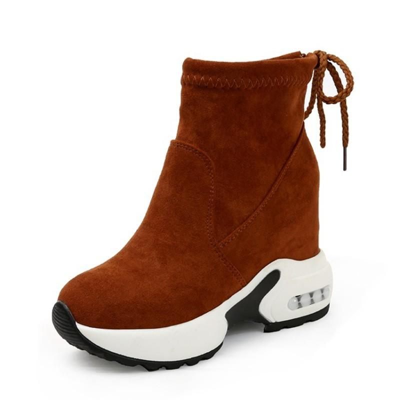 COOTELILI Fashion Increasing Shoes Women High Heels Ankle Boots For Women  Autumn Winter Rubber Boots Women Pumps Ladies 35 39 Brown Ankle Boots Fly  Boots ... 1216f0e725fa
