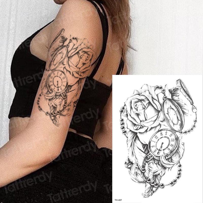 Temporary Tattoo Rose Women Girl Tattoo Sticker Clock Black 3D Body ...
