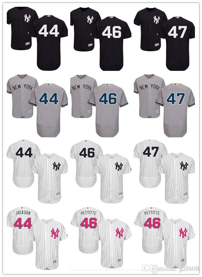 wholesale dealer 1e12b c8e3b custom Men s women youth New York Yankees Jersey #44 Reggie Jackson 46 Andy  Pettitte 47 Jon Niese Black Grey White Baseball Jerseys