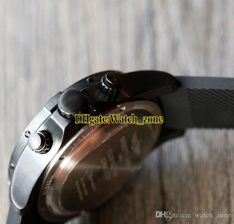 New Aerospace Evo VB5510H1 Chronometer Quartz Black Dial Mens Watch PVD Black Case LCD Digital Display Rubber Strap Sport Watches